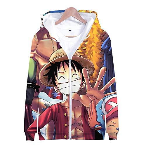 Nicoole One Piece Hoodie Veste Sweat 3D Imprimer Vogue Zipper Hoodies Hommes/Femmes Hiver À Manches Longues Anime Hoodies Vêtements XL