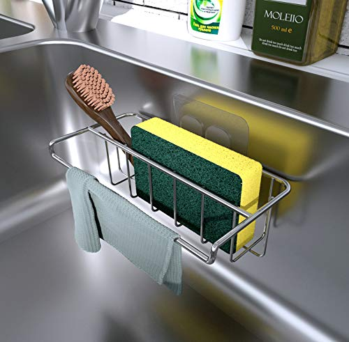 Adhesive Sink Organizer Sponge Holder+Dish Cloth Hanger, 2 in 1, Ideal for Removable Hanging Sink Caddy Brush Holder or Adhesive Sink Rack Dish Drainer, SUS304 Rust Proof,No Drilling