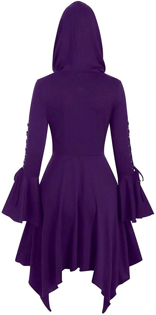 PLOT Damen Mantel Lang Elegant Winter Vintage Gothic Trenchcoat Wollmantel mit Kapuze Einfarbig Kleider Lang Umhang Hooded Warme Wintermantel Outwear Parka Jacke Coat Lila