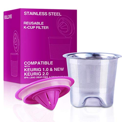 Refillable and Reusable Stainless Steel Mesh K-Cups Coffee Filters Replacement for Keurig 2.0 -...