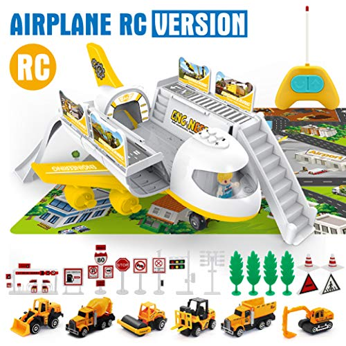 HERSITY 8 Pcs Construction Vehicles Toys Diecast Cars and Aeroplanes Set Party Favours Cake Decorations for Children Kids