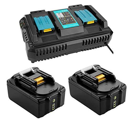 TPLS - 2 baterías de repuesto de iones de litio de 18 V y 5,0 Ah con cargador doble 4 A para batería Makita 194205-3 194309-1 LXT400 BL1850B BL1840B BL1830B BL1860B (2 unidades)