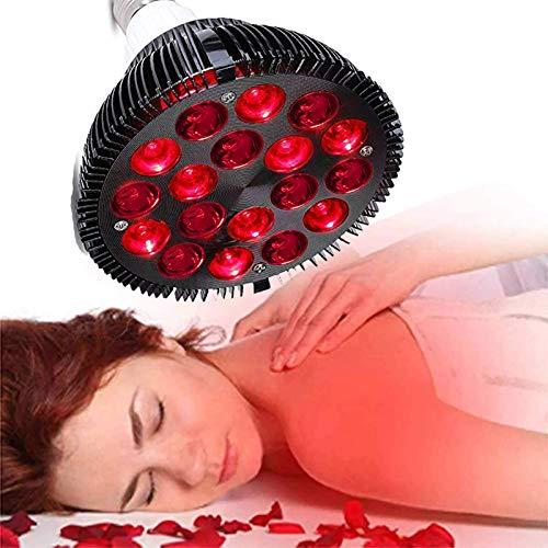 Lámpara de Terapia de luz roja, Dispositivo de Terapia de luz infrarroja LED de 18 W, Bombilla roja combinada de infrarrojo cercano de 660 NM y 850 NM para aliviar el Dolor y la Piel