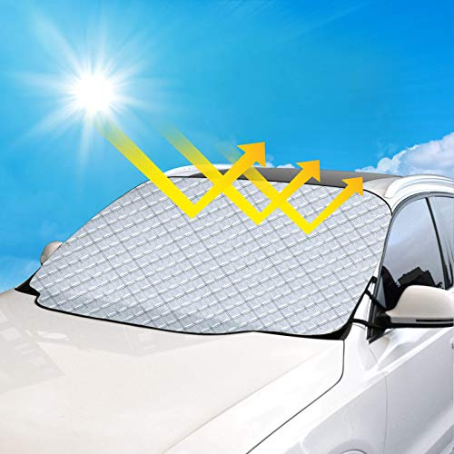 ADORIC Car Windscreen Cover, Magnetic Windshield Sunshade, Thicker Waterproof Car Front Window Protector Against Frost, Dust, Ice, UV Sunlight in All Weather