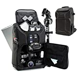 USA GEAR DSLR Camera Backpack Case (Black) - 15.6 inch Laptop Compartment, Padded Custom Dividers,...