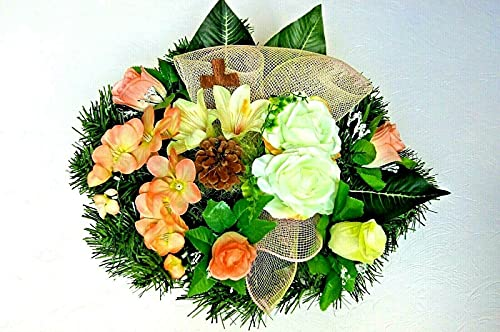 tatjana-land-deko Kunstblumen Totensonntag Gesteck Allerheiligen Grabgesteck Gedenken Urnengrab BR5-15