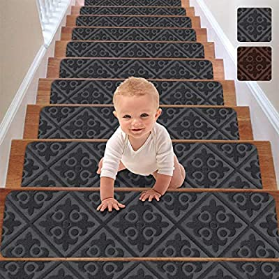 "RIOLAND Stair Treads Carpet Non-Slip Indoor Set of 15 Stair Runners for Wooden Steps Modern Stair Treads Rugs for Kids Elders and Dogs, 8"" X 30"", Gray"