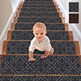 RIOLAND Stair Treads Carpet Non-Slip Indoor Set of 15 Stair Runners for Wooden Steps Modern Stair Treads Rugs for Kids Elders and Dogs, 8' X 30', Gray