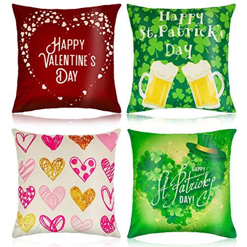 Qpout 4pcs Valentine Irish Pillow Covers, Valentine Irish Decorative Throw Pillow Covers, Farmhouse Christmas Pillow Covers Home Decorations