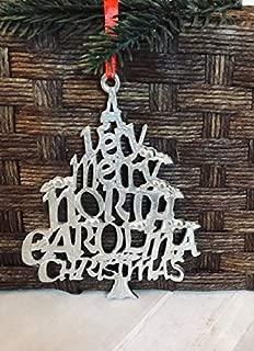 1077 Very Merry North Carolina NC Christmas Ornament Pewter