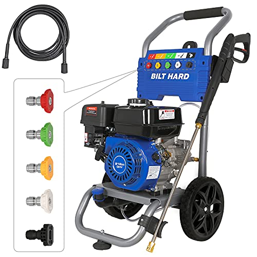 BILT HARD Gas 3300 PSI Pressure Washer with 25ft Hose & 5 Nozzles, 2.6 GPM Power Washer, 212cc 6.5HP Engine, EPA & CARB Compliant