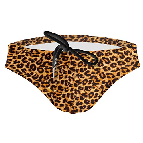 Leopard Print Animal Skin Men's Quick Dry Boxer Briefs Swimwear Shorts Trunks Swimsuit M Black