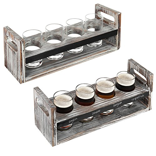 Set of 2 Torched Wood Beer Flight Serving Caddies