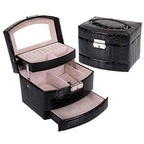 EVENN Caja de almacenamiento de maquillaje multicapa brillante, portátil, para decoración, cajas de joyería, organizador de almacenamiento para mujer, color negro