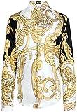 PIZOFF Chemise Homme à Manches Longues Belle Impression Graffitis Floral d'or Contrastant Luxury Design Dress Shirt Chemise de Fantaisie Y1706-20 - Homme XXL