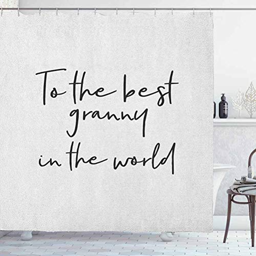 ScottDecor Grandma Shower Curtain Fabric Resistant Brush Calligraphy Hand Drawn Quote The Best Granny in The World Monochrome Design for Bathroom - Spa, Hotel Luxury Black White W72 x L78 Inch