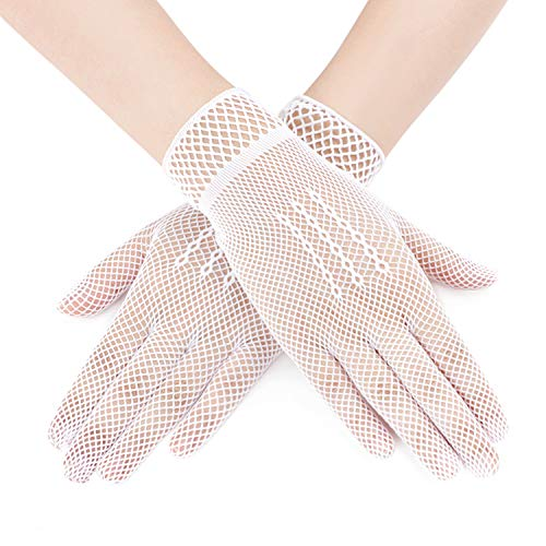 5 Paar Damen Spitzenhandschuhe Etikettehandschuhe Hochzeit Braut Gloves Sommerhandschuhe Atmungsaktiv Anti-UV Sonnenschutz für Aufführungen, Bankette, Karnevale, Tänze, Ehrengarde, Feierlichkeiten