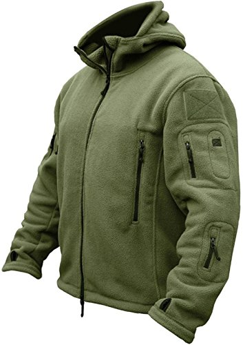 TACVASEN Herren Fleecejacke Military Outdoor Winddichte Jacke mit Kapuze- Gr. L, Grün