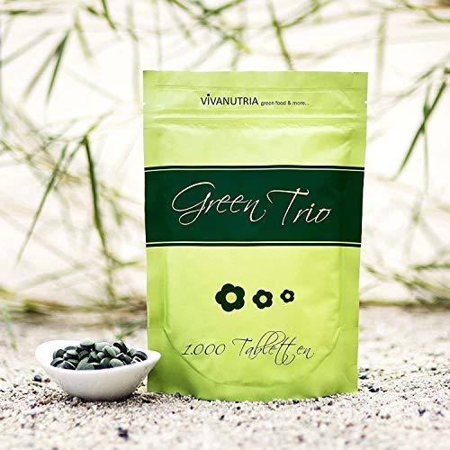 VivaNutria Green Trio Presslinge 1000g | aus kontrolliertem Anbau I 4000 Tabletten aus Spirulina Chlorella & Gerstengras ohne Zusätze I schonend verarbeitet und Rohkostqualität I vegan