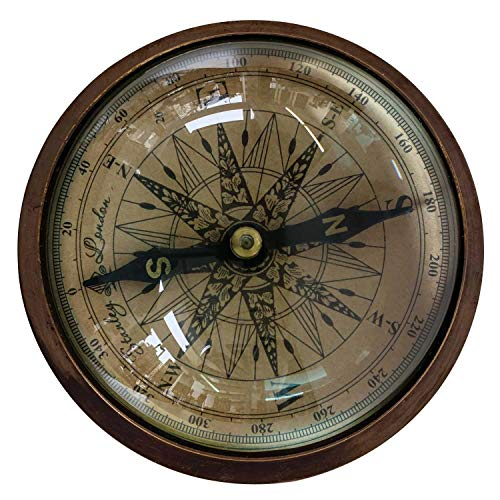 aubaho Kompass Maritim Schiff Dekoration Navigation Messing Glas Antik-Stil - 12cm