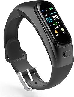 DLIBIG Pulsera Actividad Auriculares Inalámbricos Bluetooth Pantalla Color Pulsera Podómetro con Pulsómetro, Monitor de Calorías, Sueño,Pulsera Deporte para Android y iOS,Black