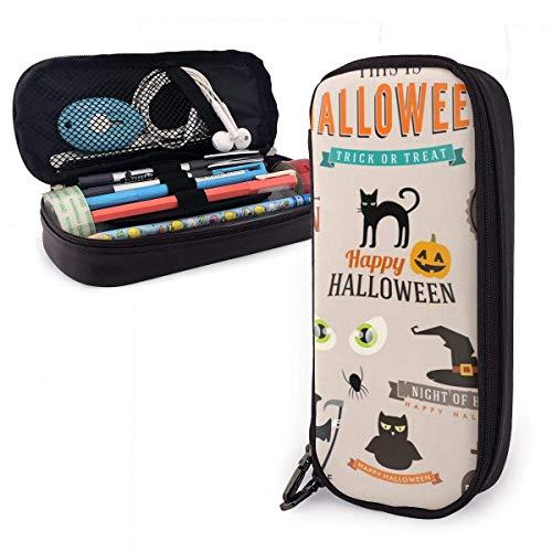 Estuches de lápices con cremallera multiusos suministros de oficina escolar, juego de símbolos y decoración de Halloween feliz