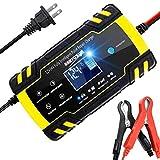 R&P Cargador de batería de Coche de edición Mejorada 12V / 8A 24V / 4A Compatible con Coche, Cargador de batería portátil Inteligente, (Coche, Motocicleta, etc.)