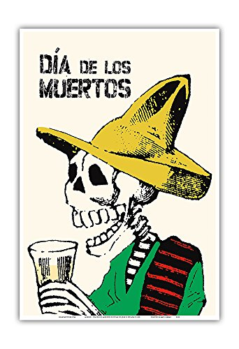 Mexico - Dia De Los Muertos (Day of The Dead) Festival - Vintage Travel Poster by Jose Guadalupe Posada c.1900 - Master Art Print 13in x 19in
