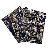 perfeclan 5 Piezas de Tela Estampada Japonesa, Tela Furoshiki de 7.8x9.8, Tela de Costura de Algodón Estampada Tradicional de Sakura para Kimono Cheongsam Bag - B 20X25CM