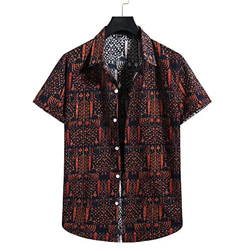 Playa Shirt Hombre Único Estampado Urbano Hombre Casuales Camisa Cuello V Manga Corta Hawaiana Camisa Casuales Vacaciones Suelta Transpirable Hombre Camisa A001 XXL