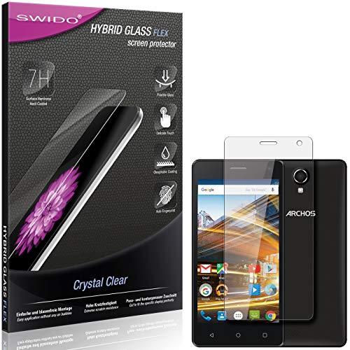 SWIDO Panzerglas Schutzfolie kompatibel mit Archos 50d Neon Bildschirmschutz-Folie & Glas = biegsames HYBRIDGLAS, splitterfrei, Anti-Fingerprint KLAR - HD-Clear