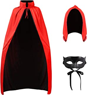 Halloween Cape Vampire Cosplay Costume Reversible Hooded Cloak with Masquerade Mask