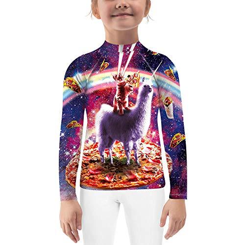 O2TEE Kids Rash Guard Compression Shirt Base Layer Tight Fitness Jiu Jitsu Active,Laser Eyes Cat,M