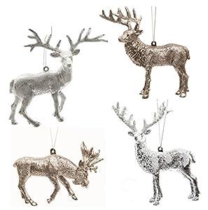 """4 x Weihnachtsschmuck """"Waldtiere"""" silber schiefergrau Kunststoff – Anhänger Elch – Hirsch – Rentier – Weihnachtsanhänger – Baumschmuck"""