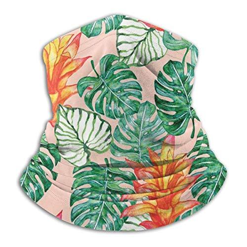 GWrix halsdoeken, naadloze halsdoek, ronde schaal, slangschaal, halsmanchet, tropische planten, halswarmer, gezichtsscarf voor stof, sport hoofddoek, slangmuts, gezichtswarmer