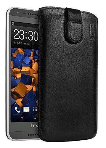 mumbi Echt Ledertasche kompatibel mit HTC Desire 620 Hülle Leder Tasche Hülle Wallet, schwarz