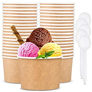12 oz Paper Ice Cream Cups - 50 Pack Disposable Dessert Soup Bowls including 50 Spoons for Hot and Cold Food - Party Supplies Paper Cup Bowls for Ice Cream Soup Frozen Yogurt