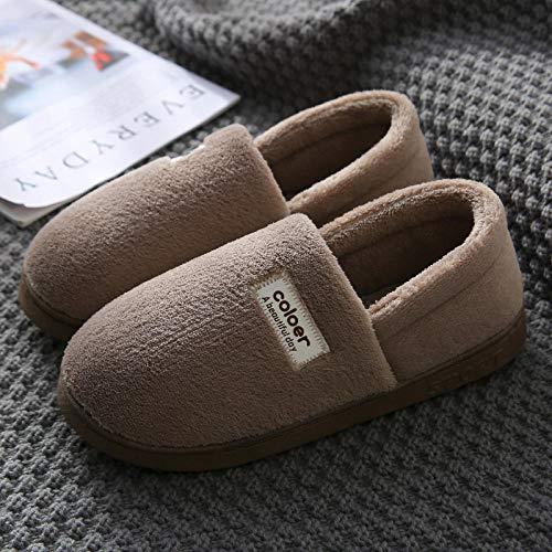 Zapatillas de algodón Calentamiento interior de invierno más zapatillas de terciopelo para pareja Hogar antideslizante Piso Cómodo Casual Zapatillas de algodón de lino Uso en interiores-42-43_ [Paquet