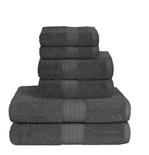 6 Piece Towel Set 100% Ring Spun Cotton 2 Bath Towels 27x54 2 Hand Towels 16x28 and 2 Washcloths 12x12  Ultra Soft Highly Absorbent Machine Washable Hotel Spa Quality  Shower Quick Dry Towel Sets