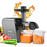 Cold Press Juicer for Celery Wheatgrass Tomato Ginger, Multifunction Slow Masticating Juicer Machine for Fruits and Vegetables Home Kitchen, Extractor de Jugos Y Vegetales, Easy To Clean, Quiet Motor