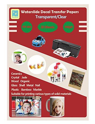 20 Sheets DIY A4 Inkjet Waterslide Decal Transfer Paper Sheets Transparent Clear for Inkjet Printer