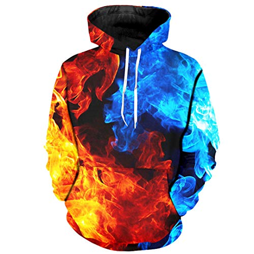 Men's Hoodies Colorful Pullovers 3D Print Sweatshirts Fire and Ice Thin Streetwear M