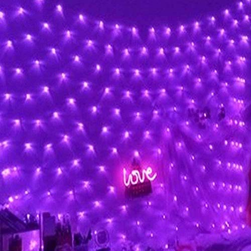 LED Fairy Lights Outdoor 8 Modes Purple String Lights Outside Waterproof Christmas Tree Net Lights Gazebo Pergola Teen Girl's Bedroom Wall Decorations-5x5FT/1.5x1.5M