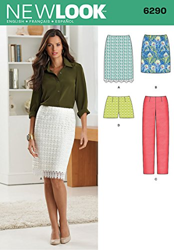 Simplicity New Look Pattern 6290 Misses Skirt in Two Lengths, Shorts and Long Pants Sizes 4-6-8-10-12-14