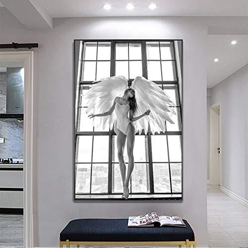 GJQFJBS Poster Leinwanddruck Tänzer Schwarz-Weiß-Kunst Wandbild für Raum Gym Yoga Raumdekoration Kunst A5 50x70cm