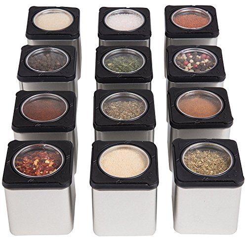 Magnetic Spice Jars - Tins Attach to Most Refrigerator Doors - Shake or Pour Containers (Set of 3 Dispensers)- Easy Open Window Top Shakers