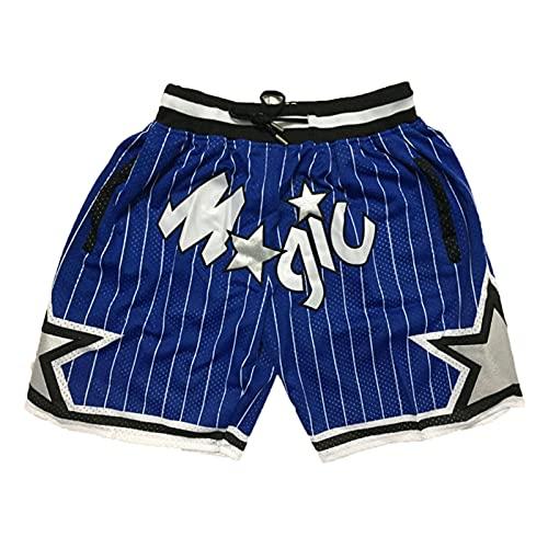MEIBAO Magic Basketball Shorts Herren Mesh Retro Orlando Magic Swingman Sportshorts (S-XXL) Blue-XL