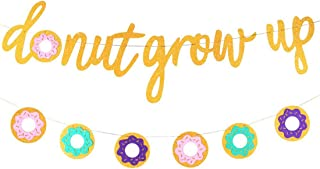 Morndew Glitter Dount Grow Up and Colourful Doughnut Banner for Boy or Girl Birthday Party Baby Shower Wedding Party Bunti...