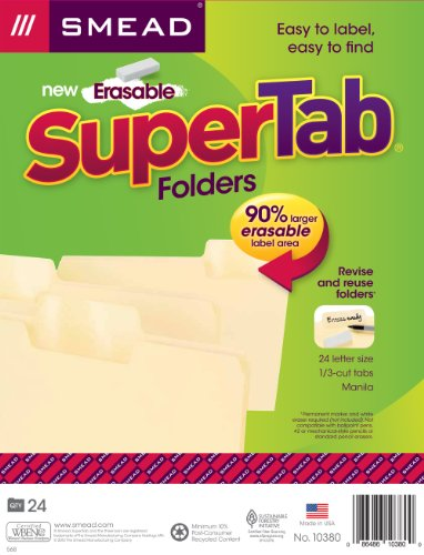 Smead Erasable SuperTab File Folder, Oversized Erasable 1/3-Cut Tab, Letter Size, Manila, 24 per Pack (10380)