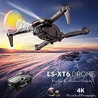 RCドローン, Extaum LS-XT6 RCドローンとカメラ4Kドローンデュアルカメラトラック飛行重力センサージェスチャー写真ビデオ高度ホールドヘッドレスモードRCクアドコプター(大人用)